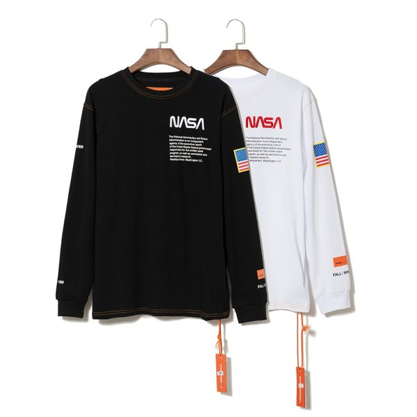 NASA X Heron Designer T-shirts Blancs De Feuilles De Coton Hip Hop Crewneck Luxe Classique De Mode Col Roulé T-shirt À Manches Longues Hommes Tissu