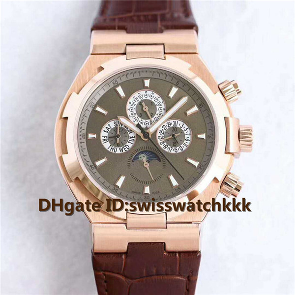 New Mens Wristwatches Swiss 1136QP Automatic Multifunction Sapphire Crystal Rose Gold Case Brown calfskin strap Luminous Mens Watch