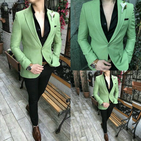 Fashion Green Wedding Mens Suits Slim Fit Bridegroom Tuxedos Men Two Pieces Groomsmen Suit Cheap Formal Business Jackets With Square Scarf