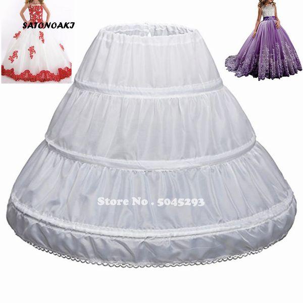 SATONOAKI Fit 6 ~ 14 yıldır Kız Çocuk Petticoat A-Line 3 Hoops Tek Katman Çocuklar Crinoline Dantel Trim Çiçek Kız Elbise Jüpon Elastik Bel