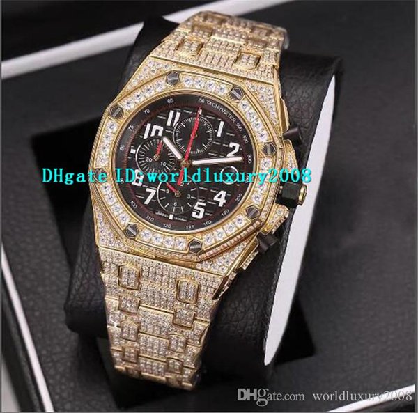 Top Full Iced Out Diamond Mens Watches Yellow Gold Black Mega Tapisserie Pattern Dial Swiss Quartz Chronograph Sapphire Designer Watches