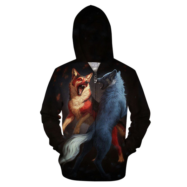 Fashion Men's Loose Large Size Zip Shirt Autumn New Hoodie Two Wolf Fighting 3D Print Sweatshirt