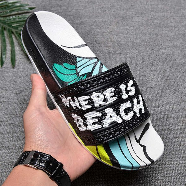 WITH box new arrival male scuffs fashion men summer beach slippers factory wholesale high quality multicolor sandals size 40-45