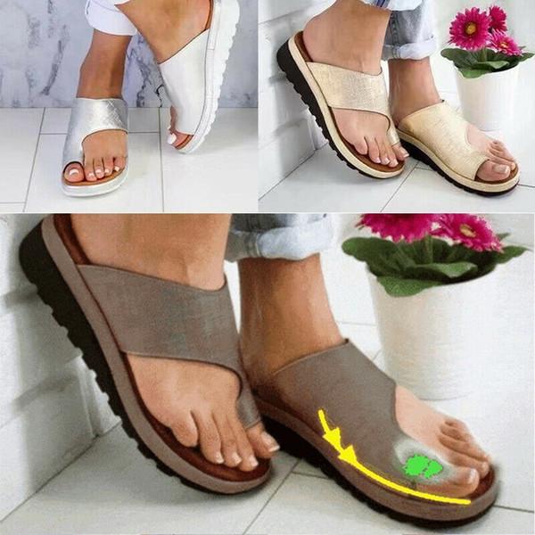 Kadınlar Rahat Platformu Sandal Bunion Düzeltici Ayakkabı Ayaklar Doğru Düz Taban Plaj Terlik Artı Boyutu Damenschuhe Kadın Sandalet