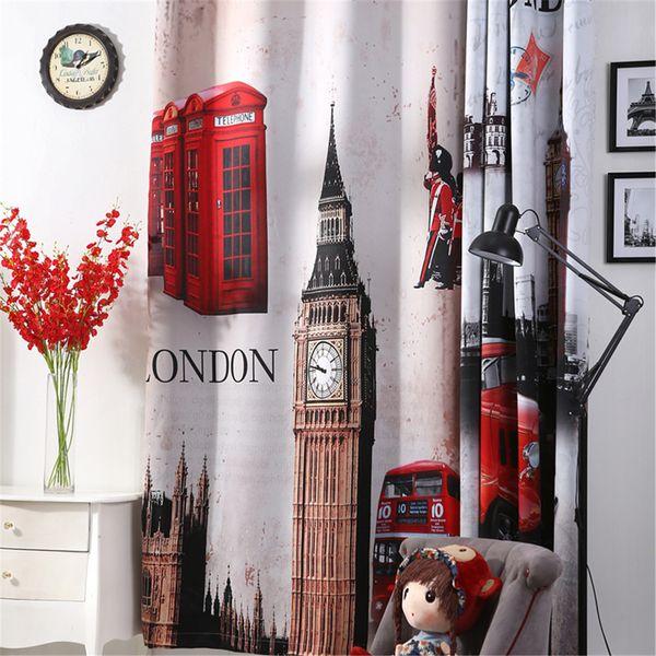3d curtains London Blackout curtains for livingroom Big Ben car Blinds tende drapes bedroom window door curtain home christmas