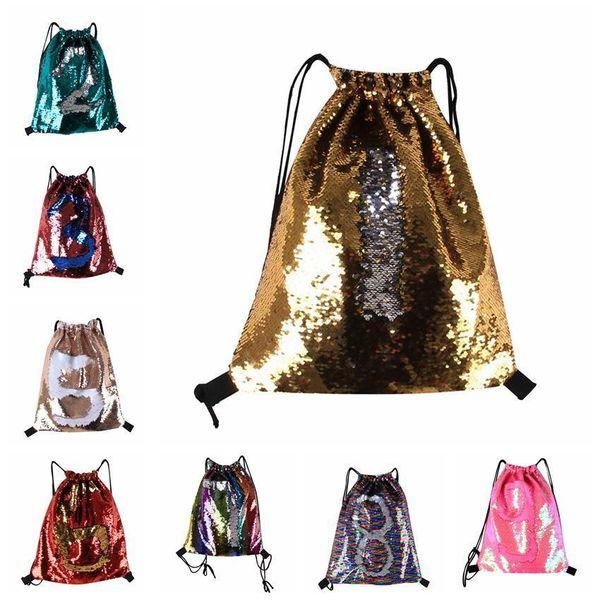 Sequin Backpack Drawstring Bags Strap Reversible Sequins Women Men Double Shoulder Bag Designed Bag Travel Accessory Bag 8 Colors Mma686