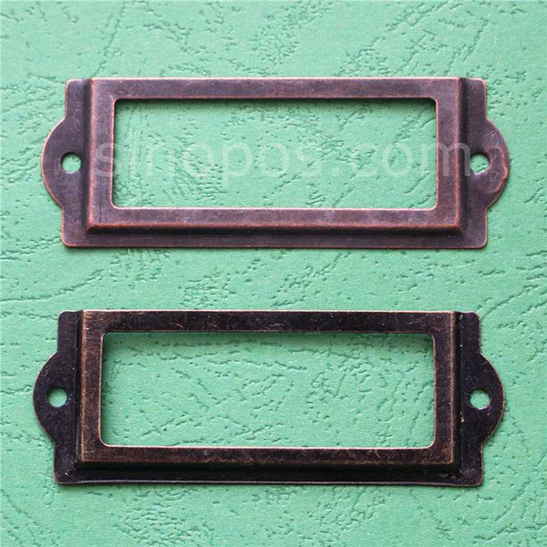 83 * 30 mm Marco de etiqueta decorativa de bronce antiguo, titular de etiqueta de tarjeta de precio de caja vintage estante marcos de metal muestra pantalla bloqueo de manga