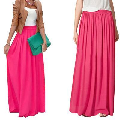 Sk71 Long Skirt Elegant Style Women Pastel Jupe Pleated Chiffon Maxi Skirts Floor-length Saia Vintage Saias Womens Solid Faldas MX190714