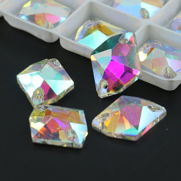 Glass Crystal AB Cosmic Stone Sew On Flatback Rhinestones Gems R3265 50pcs per bag For Wedding Dress Making