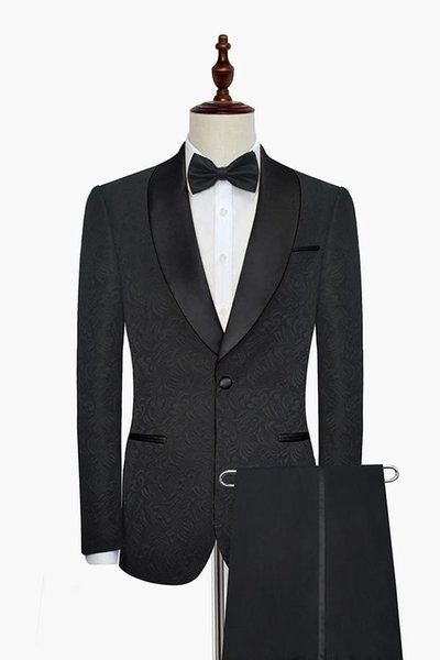 Black Men Wedding Tuxedos Embossing Groom Tuxedos Excellent Men Blazer 2 Piece Suit Prom/Dinner Jacket Custom Made(Jacket+Pants+Tie) 2623