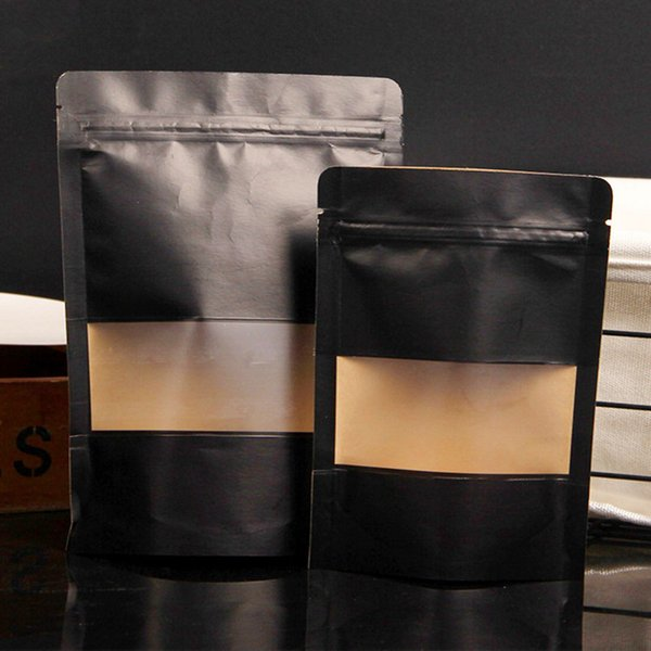 50pcs/lot MaBlack Stand up Paper Frosted Window Bag Snack Cookie Coffee Packaging Bag Doypack Paper Gift Window Pouches