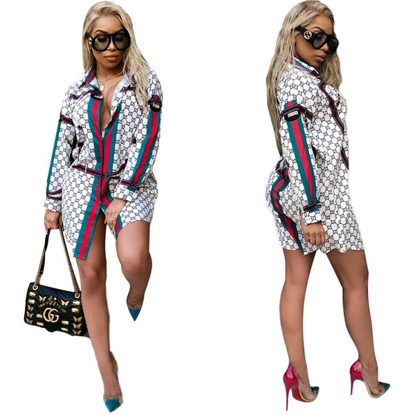 Striped Shirt Dress Brand Long Sleeve Summer Digital Printing Skirts Mini Party Dress Irregular Short Sundress LJJO6724