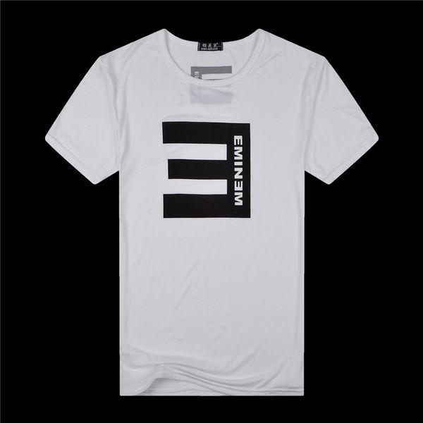 T-shirt décontracté à la mode pour hommes T-shirts en coton à manches courtes hip-hop Tee shirt noir blanc 2pcs / lot