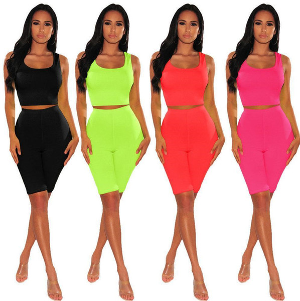 Women 2 piece set tracksuit solid color crop top sleeveless scoop neck tops t-shirt bodycon leggings knee-length shorts summer clothing 632