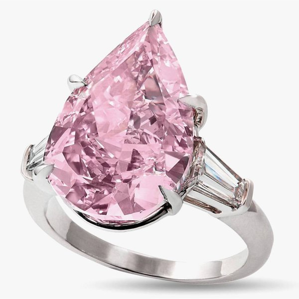 New Morgan diamond zircon ring atmospheric imitation of natural crystal drop pear-shaped engagement ring