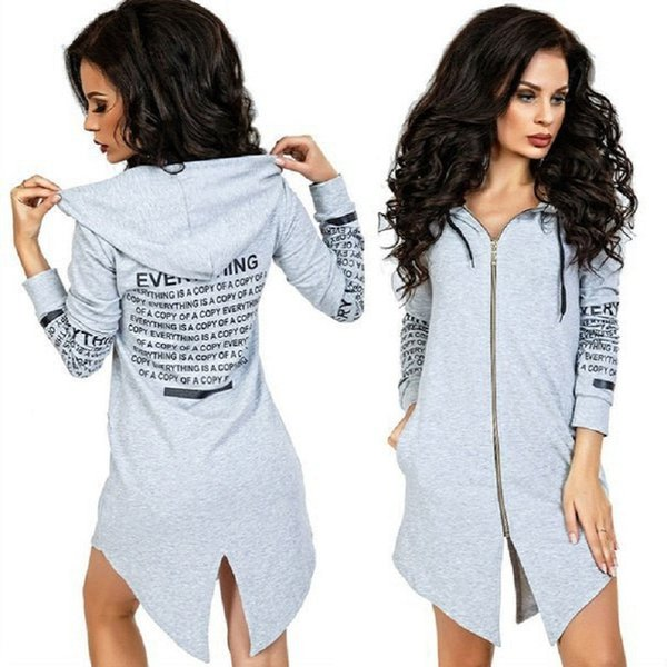 2017 Spring Fashion Women Tracksuits Letter Print Casual Zip Up Hooded Hoodies Irregular Hem Sweatshirt Black Gray Tunic Jumpers