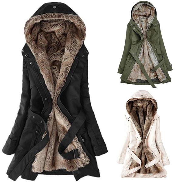 3 Colors Winter Warm Women Black Hooded Faux Fur Coat Jacket Fashion Army Green Slim Liner Cotton Coat Dropshipping Coats DT191104