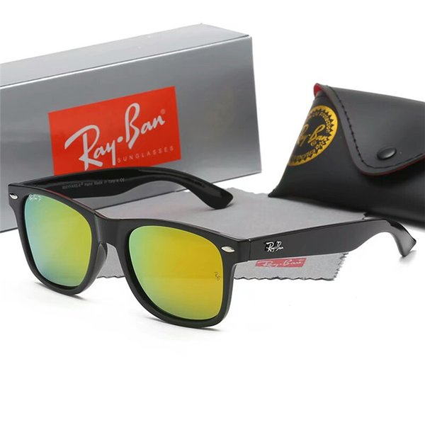 Moda gafas de sol redondas Gafas Gafas de sol Diseñador de la marca Marco de metal negro Lentes de cristal oscuras de 50 mm para hombre Womens Better Brown Cases BOX