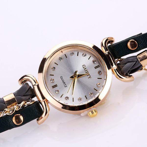 Gaiety brand ladies bracelet student table small twist rivet PU leather dark buckle trend chain bracelet watch beautiful gift