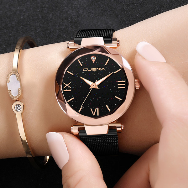 Fashion Casual watches Womens Men CUENA Womens Classic Quartz Stainless Steel Wrist Watch Bracelet Watches 2018 A40