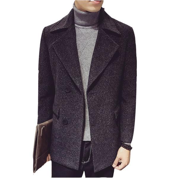 Herbst und Winter männliche koreanische Version der Wolle Trenchcoat Herren Revers im langen Abschnitt der Mode lässig Blends Mantel