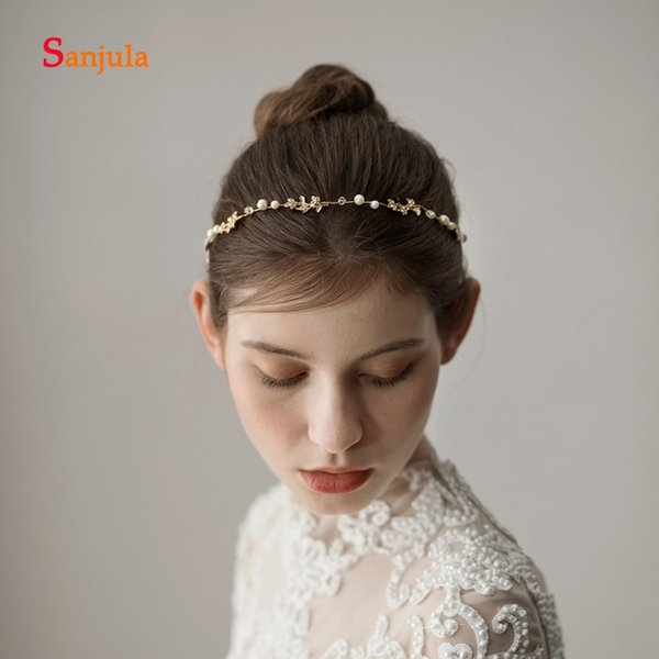2019 Handmade Simple Headband Pearls Beaded Wedding Hair Accessories Metal Leaves Engagement Party Hair Decoration Coroa Noiva H207 From