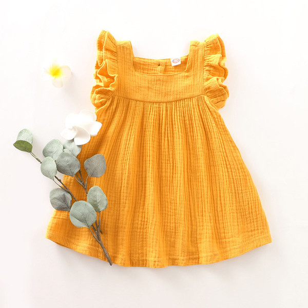 Baby Sling Princess Dress Toddler Infant Neonate Solid Fly Sleeve Bambini Designer Outfits Abbigliamento senza maniche Button Button Dress 06