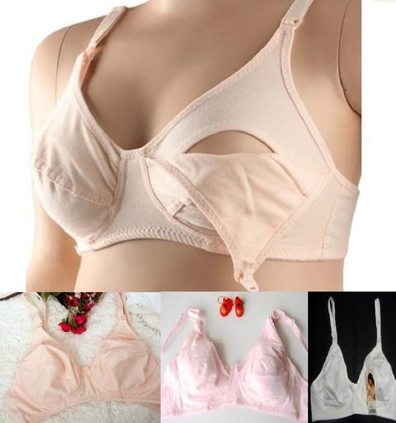 Reggiseno premaman reggiseno infermieristico 100% cotone reggiseno infermieristico apertura frontale fibbia piena coppa seno reggiseno rosa intimo bianco nudo