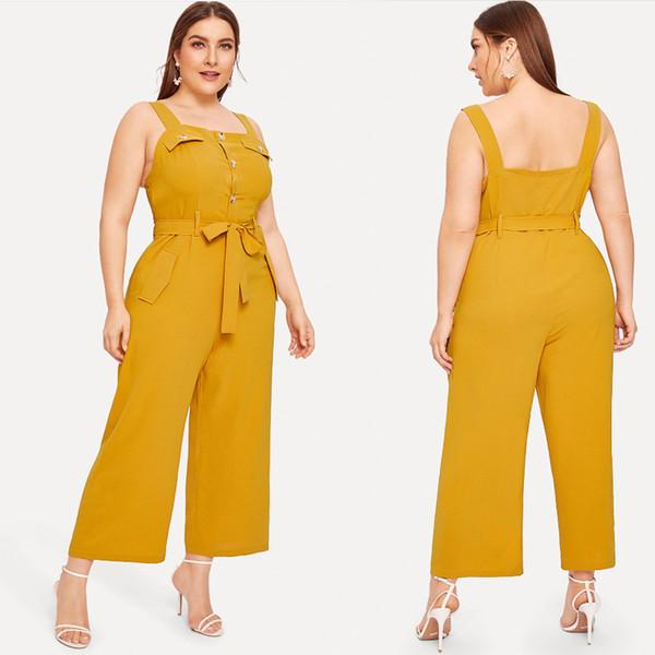 XL-4XL 2019 Sommer plus Größe Frauen Jumpsuits beiläufige Gelb Spaghetti-Bügel-Strampler Große Damen breite Bein-Overalls Jumpsuits