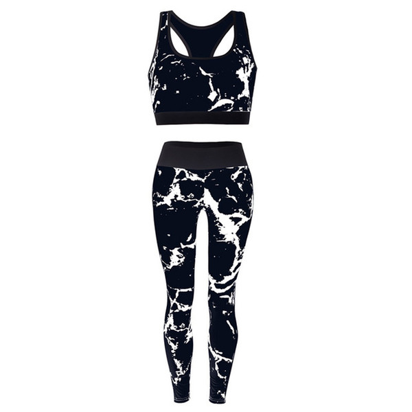 Women'S Sports Yoga Set Two-Piece Print Sportswear Gym Clothing Breathable Slim Fitness Set Running Sports Set Women