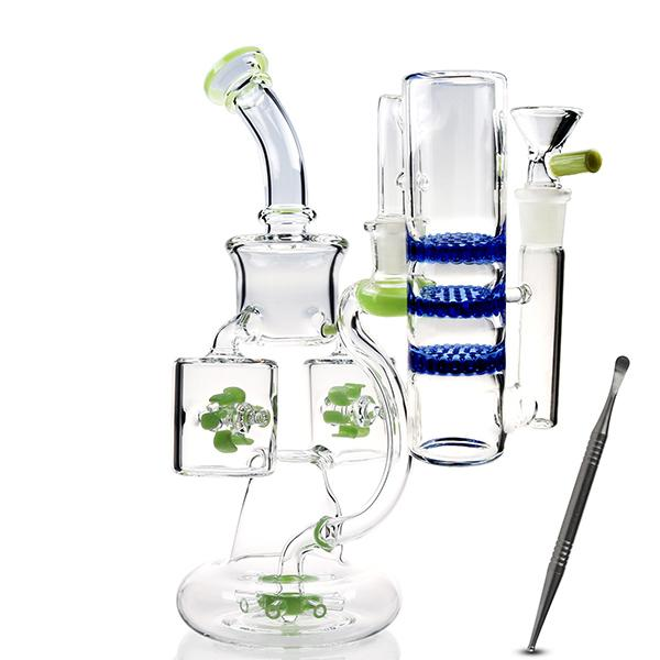 Thick Glass Bong Kits water bongs Fab Egg beaker bong Accessories 14mm oil burner pipe straight tube unique gravity bong recycler cool big