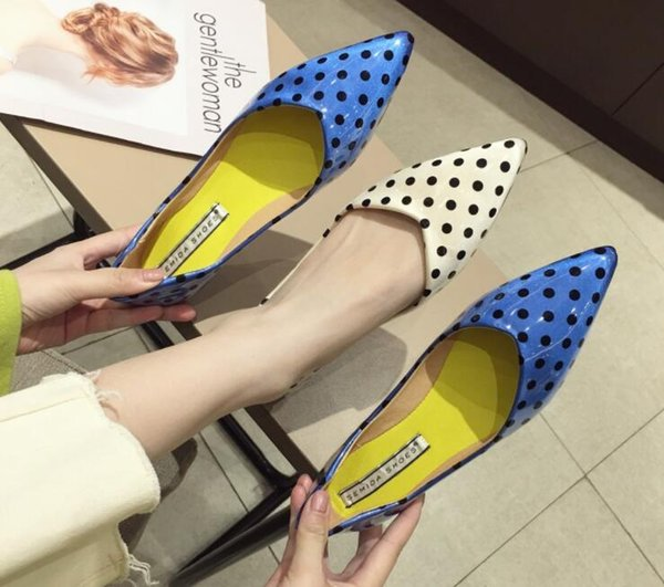 New classic design Fashion woman pointed wave point Flat Shoes high quality Women Homecoming wedding dress Pageant princess Shoes cx593