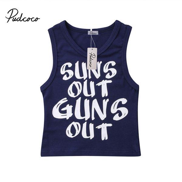 2019 0-24M Newborn Kid Baby Boy Summer Beach Sleeveless Letter Casual T-shirt Vest Clothes Tops