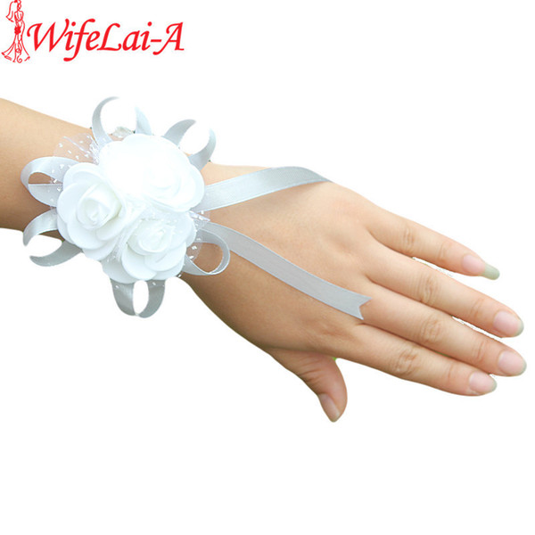 Wifelai-a 2piece Pe Rose Hand Wrist Flower With Ribbon Accessories For Wedding Bride Boutonniere And Groom Sw003 C19041701