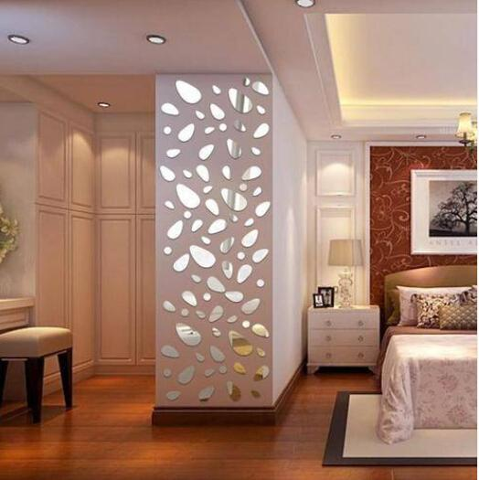 Wholesales Silver DIY Pebble Shape Mirror Wall Stickers Home Wall Bedroom  Decor Wall Mirrors For Living Room Wall Mirrors For Sale From Papazeng, ...