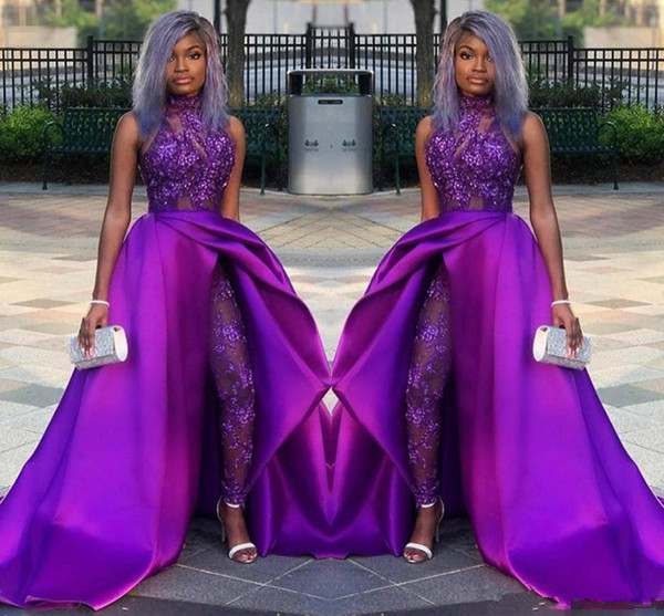 Purple Lace Stain Evening Jumpsuit With Train 2019 High Neck African Plus Size Classic Occasion Prom Pant Suit Dress Wear