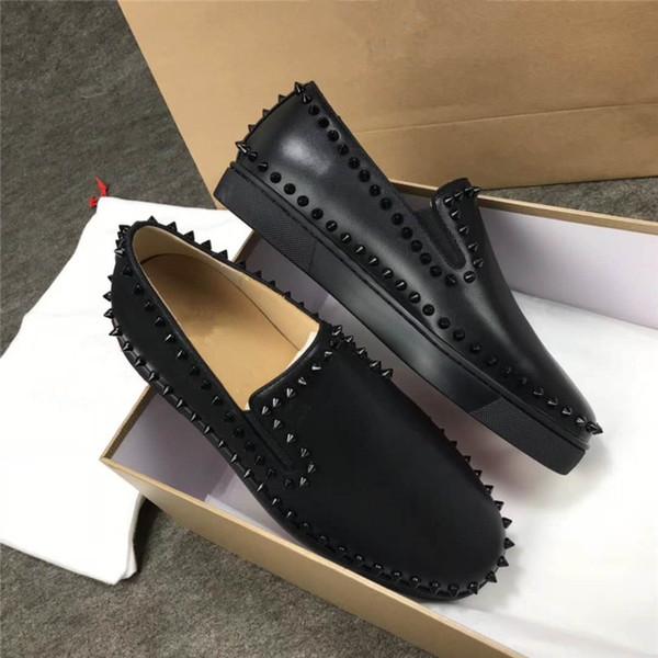 Mocasines de cuero genuino negros Oxfords de fondo rojo Remaches Zapatos casuales Zapatillas de deporte Hombres Pik Vestido de barco Zapatos de negocios planos de corte bajo Zapatos de lujo