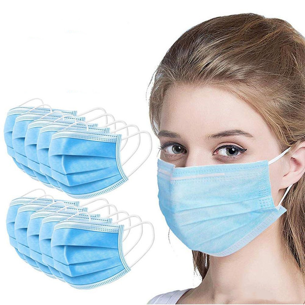 50 pcs disposable masks 3-layers protective face mask anti dust breathable facial dust mask in stock ship 24 hours