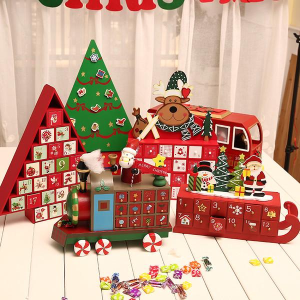 Christmas Advent Calendar.Christmas Calendar 1 24 Wooden Elk Train Christmas Advent Calendar Gift Tags Number Desk Table Decorations For Home Home Decor For Christmas Home