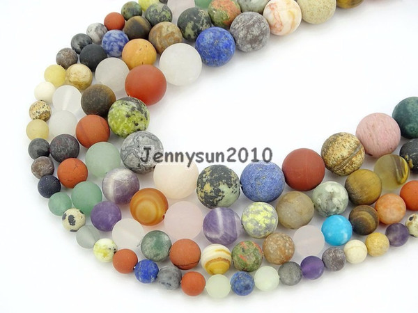 Natural Matte Mixed Ja-sper Gems Stone Round Spacer Beads 15'' 6mm 8mm 10mm 12mm for Jewelry Making Crafts 5 Strands/Pack