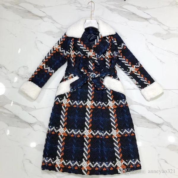 2019 Designer Women's Long Coat Milan Runway Plaid plush Lapel Neck Long Sleeve Adjustable Waist Long Wool Coats Women M30