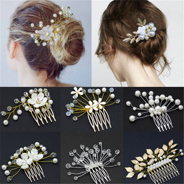 bridal hair comb wedding jewelry flower rhinestone tiaras hair accessories sparkling bride hair combs headpieces 9 styles
