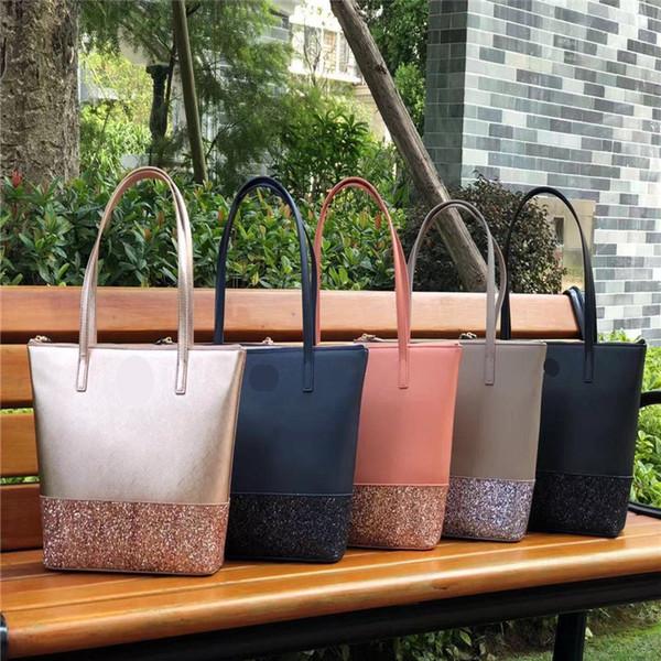 Hot Women Girls Classic Glitter Star Brand PU Leather Zipper Solid Color Fashion Shopping Bag Designer Tote Bag Duffle Shoulder Bags C52808