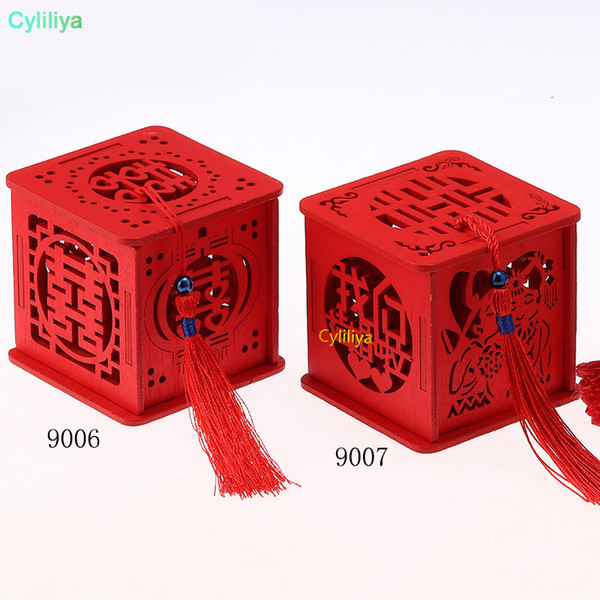 Wood Chinese Double Happiness Wedding Favor Boxes Candy Box Chinese Red Classical Casamento Sugar Case With Tassel