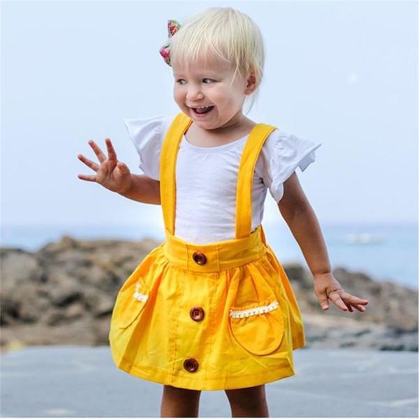 2019 Vestito per neonate primavera estate Solido rosa giallo verde Tuta per bambini Vestito da spiaggia per vacanze Cinturino neonato per bambini