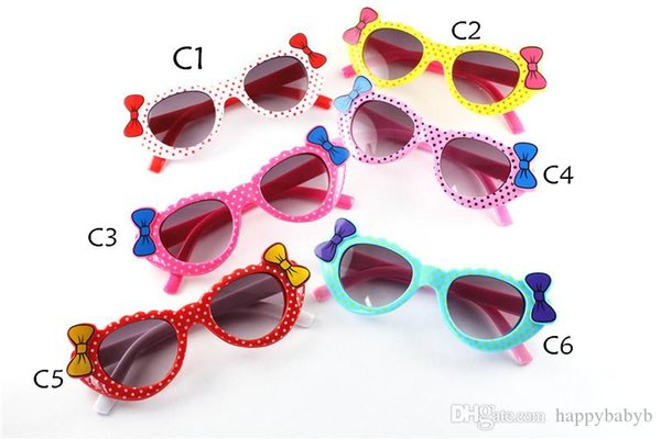 Les nouvelles lunettes de soleil Sunglass mode enfants filles anti-UV400 lunettes anti-UV bébé en forme de coeur mignon entreprise lunettes Bow sunglass