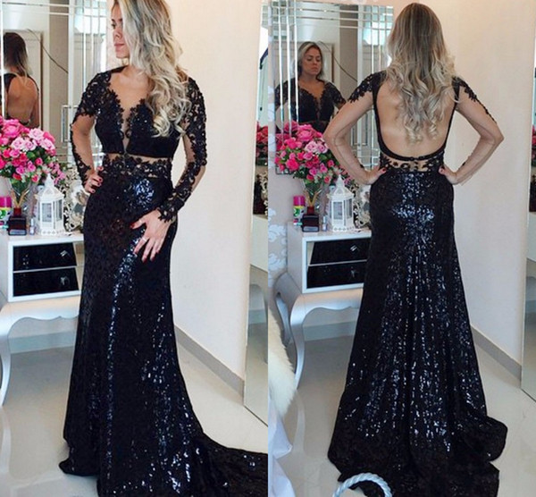 Sparkly Black Sequin Fabric Backless Evening Dresses Formal Gowns with Long Sleeves Beaded Crystal V neckDeep V neck Applique Sex Prom Dress