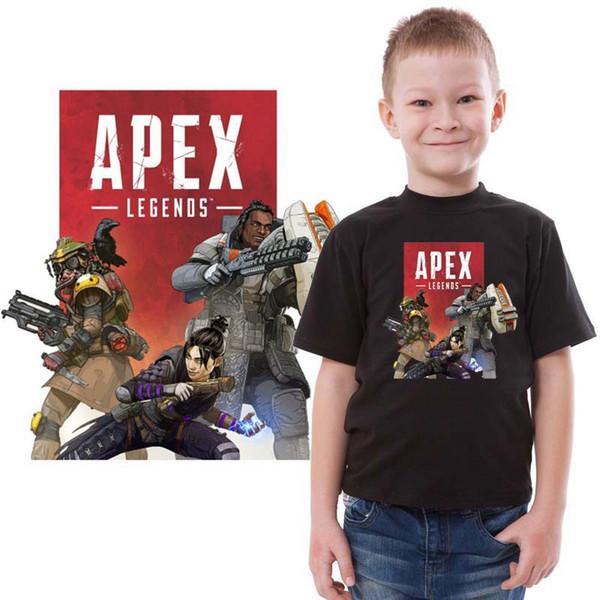 Apex Legends T camisas 2019 Novo Jogo Logotipo Casual de Manga Curta para Crianças Camisetas Modal Tripulação Pescoço Crianças Amarelo Vermelho Tops Tees Atacado