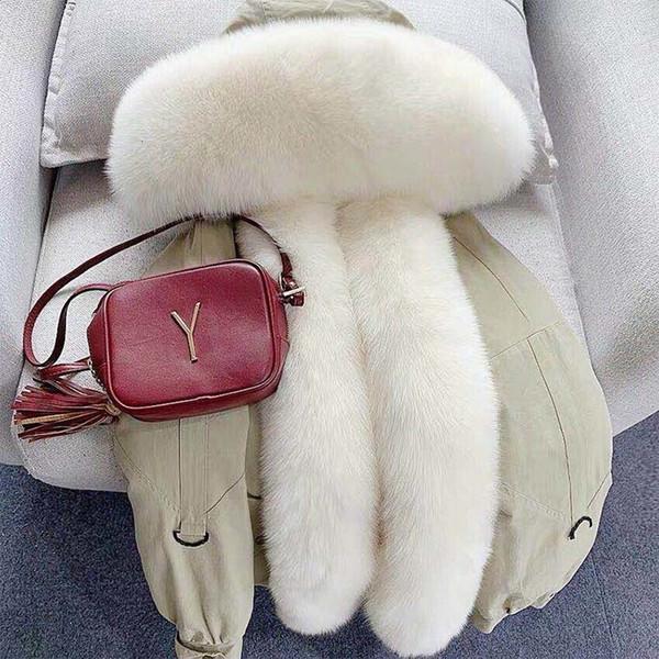2019 réel fourrure Parka hiver Veste femme lapin doublure Fox naturel fourrure de raton laveur manteau chaud épais vêtement Streetwear luxe T191109