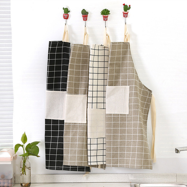 best selling Women Home Cooking Cleaning Aprons Plaid Print Halter Tether Bandage Sleeveless Cafe Shop BBQ Hairdresser Baking Apron Kitchen Accessories